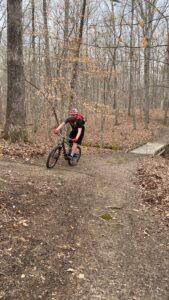 A mountain bike rider enjoys Caswell's Sunline Trail